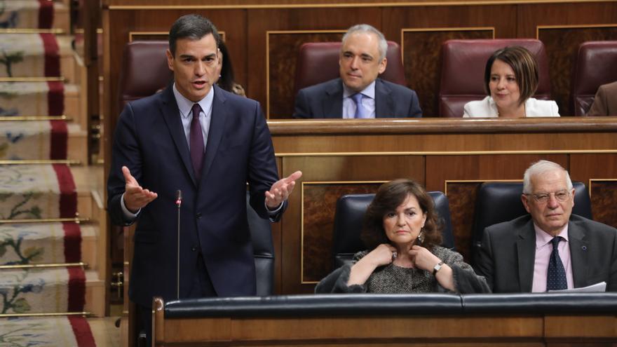 Pedro Sánchez, durante la penúltima sesión de control al Gobierno en el Congreso de los Diputados.