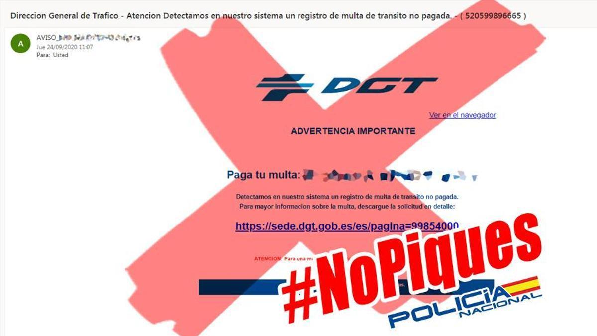 Un aviso de la Policía Nacional sobre una campaña de correos que suplantan la identidad de la DGT.
