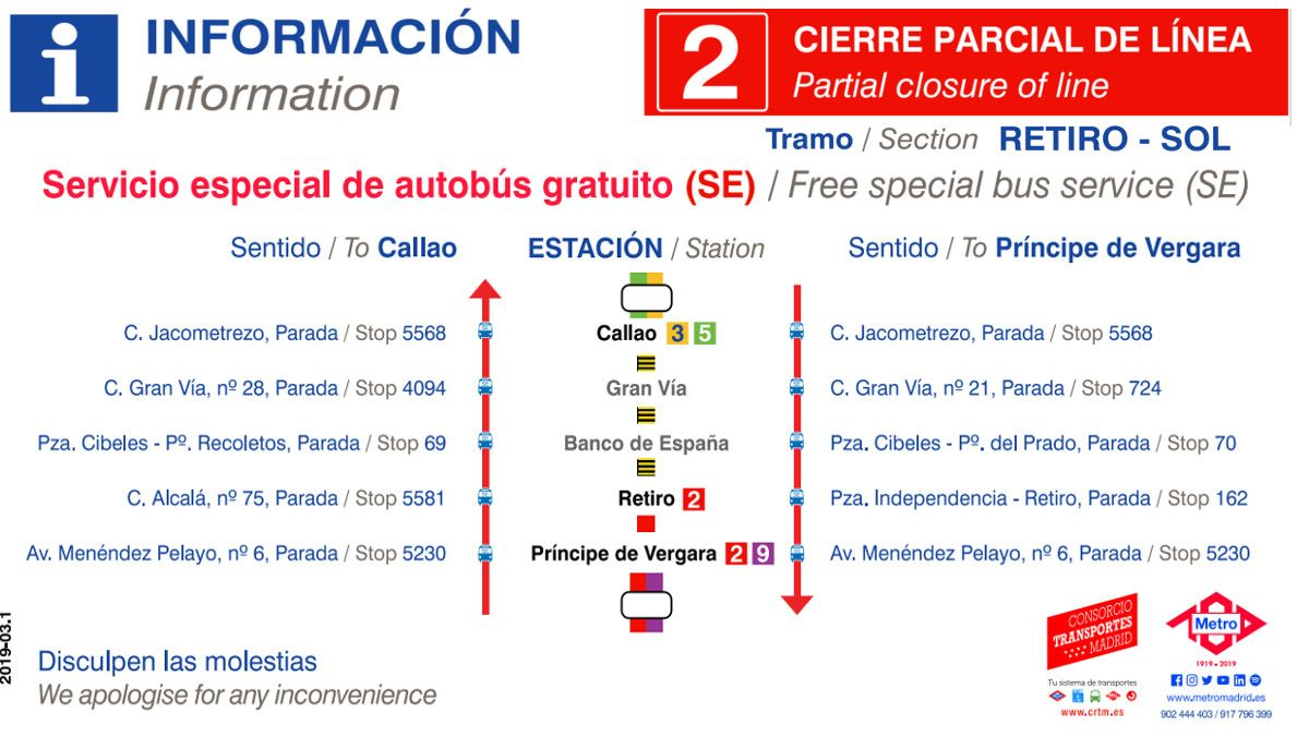 Paradas del servicio especial de autobús de la L2 | METRO DE MADRID