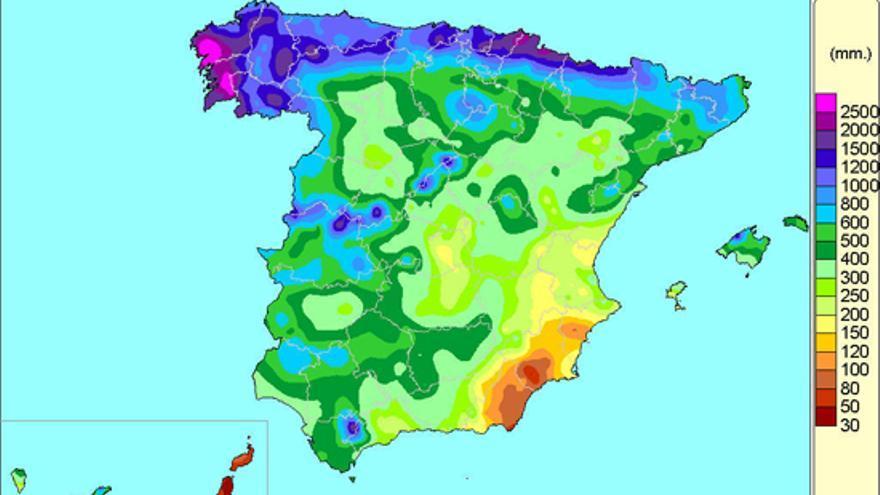 Imagen de la Agencia Estatal de Meteorología sobre el reparto de precipitaciones en el año hidrológico 2013-2014.