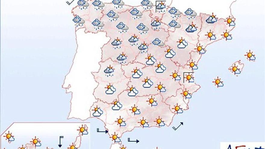 Domingo lluvioso en Galicia y con temperaturas altas en el sudeste peninsular