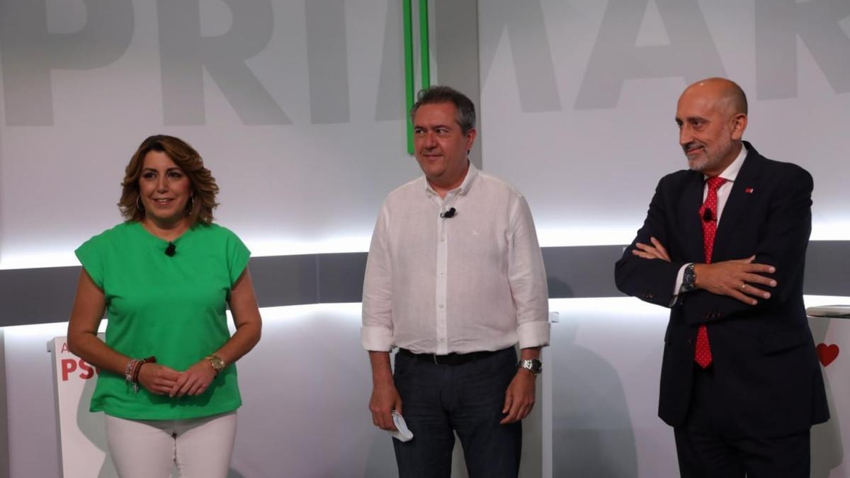 Susana Díaz, Juan Espadas y Luis Ángel Hierro debaten en las primarias del PSOE de Andalucía.