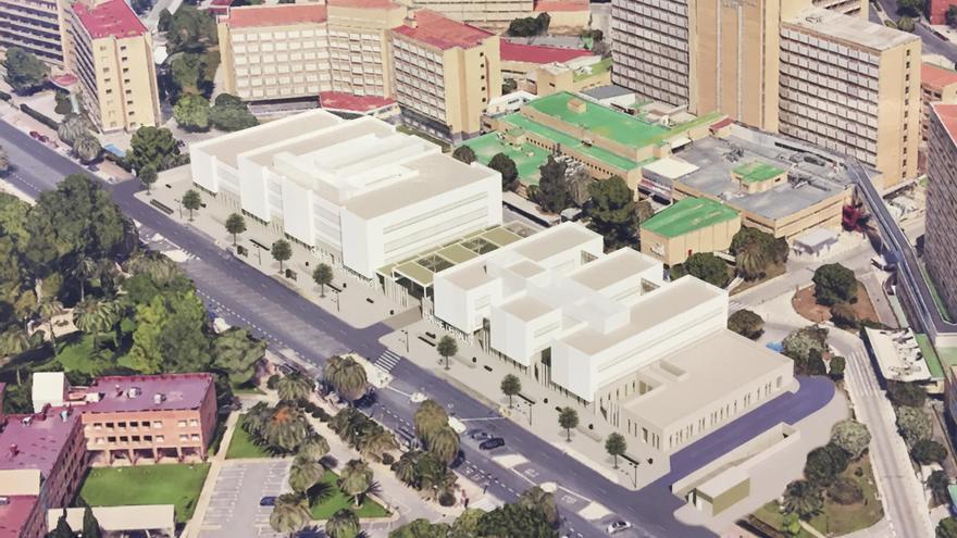 Imagen virtual del nuevo centro de salud y especialidades en la parcela de la antigua Fe