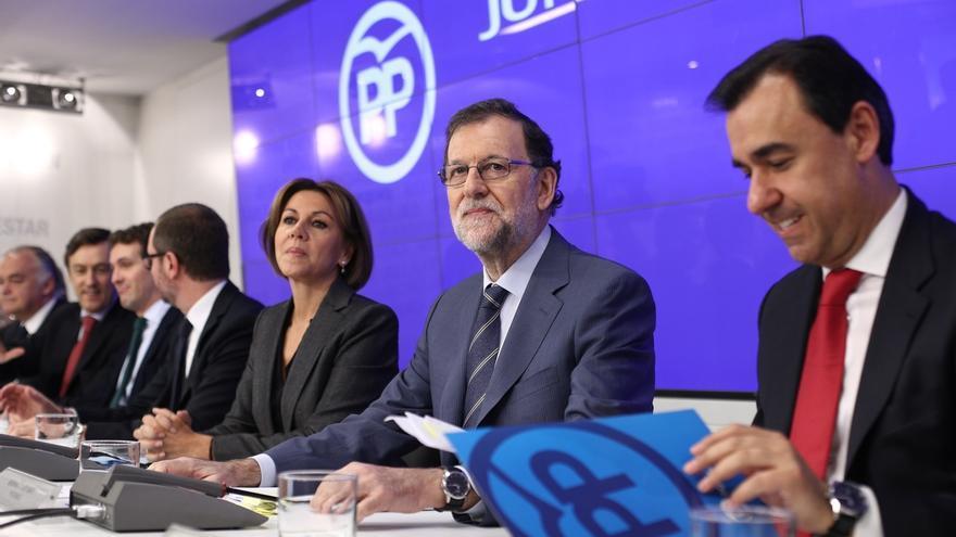 Cospedal, Rajoy y Maillo, en una imagen de archivo.
