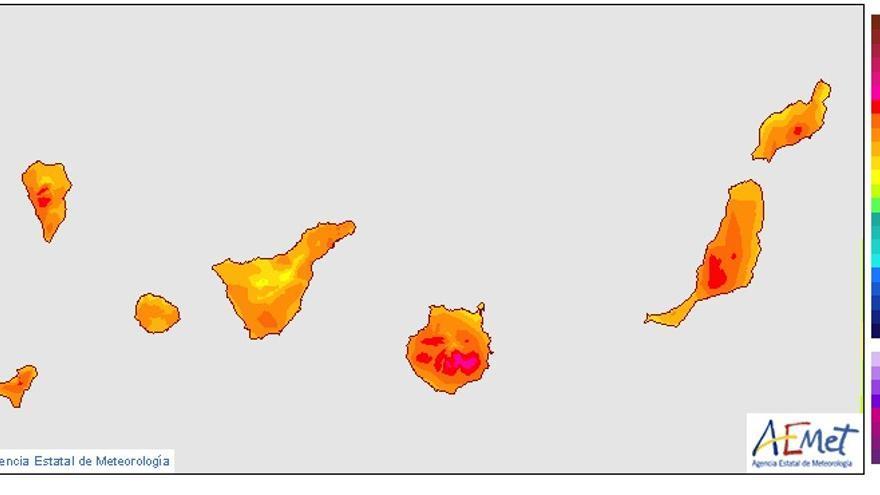 Mapa de temperaturas para Canarias este lunes, 25 de mayo