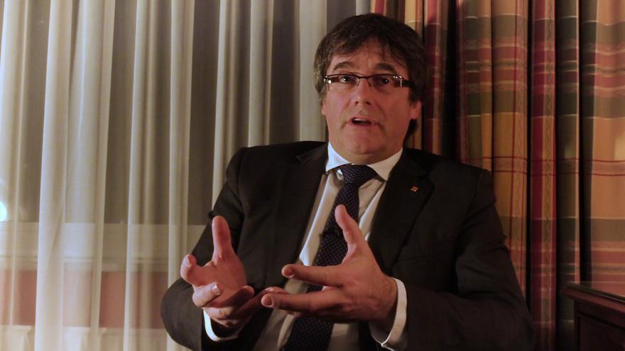 Carles Puigdemont durante la entrevista con eldiario.es