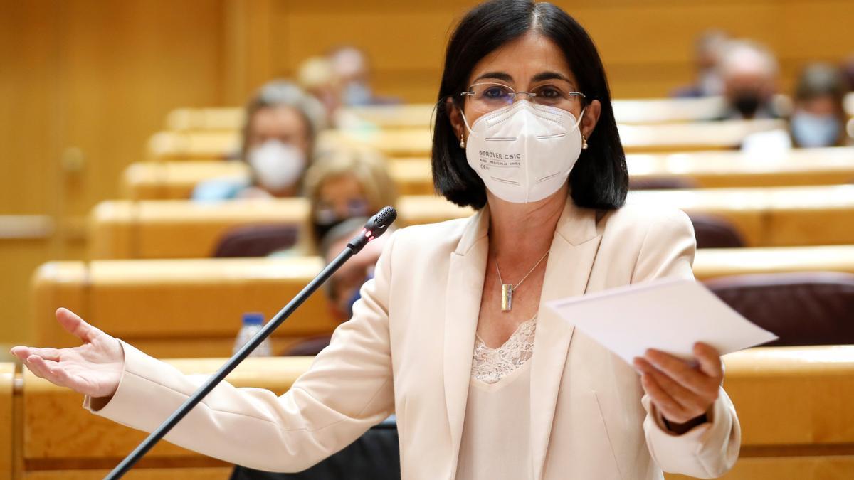 La ministra de Sanidad, Carolina Darias, este martes en el Senado.