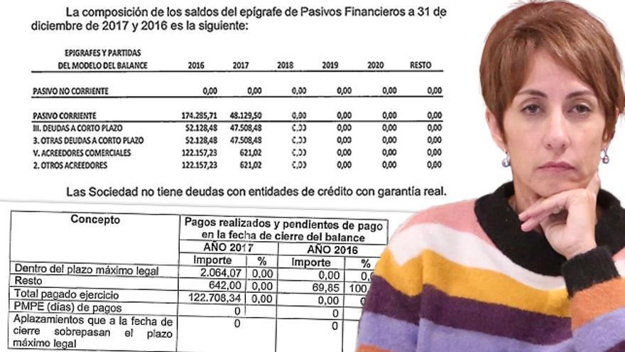 Documentación de las cuentas anuales de la empresa de la alcaldesa de Mogán que recoge pagos a acreedores y deudas saldadas en 2017.