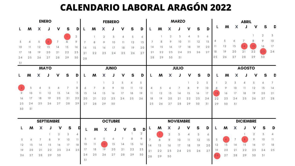 Calendario laboral 2022 en Aragón
