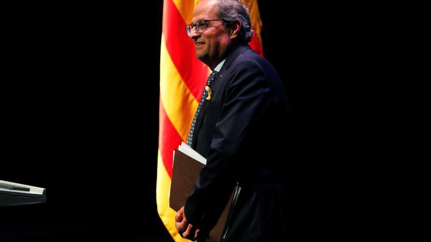 El presidente de la Generalitat, Quim Torra, al finalizar la conferencia que ha pronunciado con el título 'Nuestro momento'.