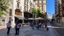 Una calle de Valladolid durante una de las fases de la desescalada.