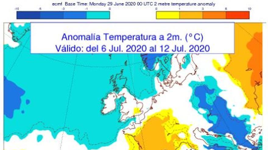 Mapa con anomalías térmicas, según la Aemet