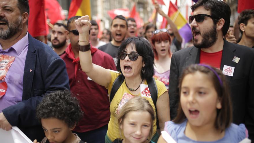 Manifestantes en la marcha del Primero de Mayo de este 2019 en Madrid.