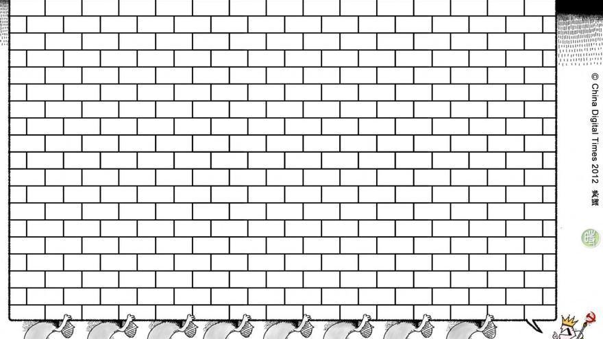 """""""El Muro"""": caricatura de Hexie Farm publicada en China Digital Times. 29 mayo 2012"""