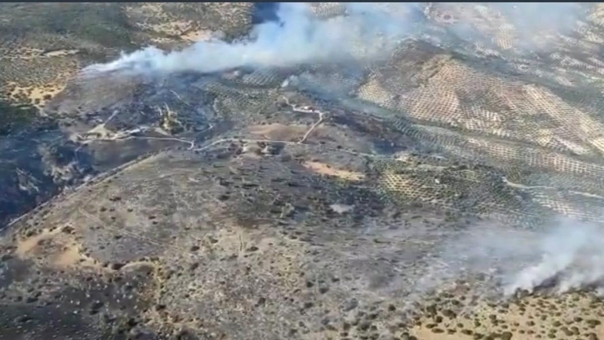 Imagen aérea del incendio ya extinguido