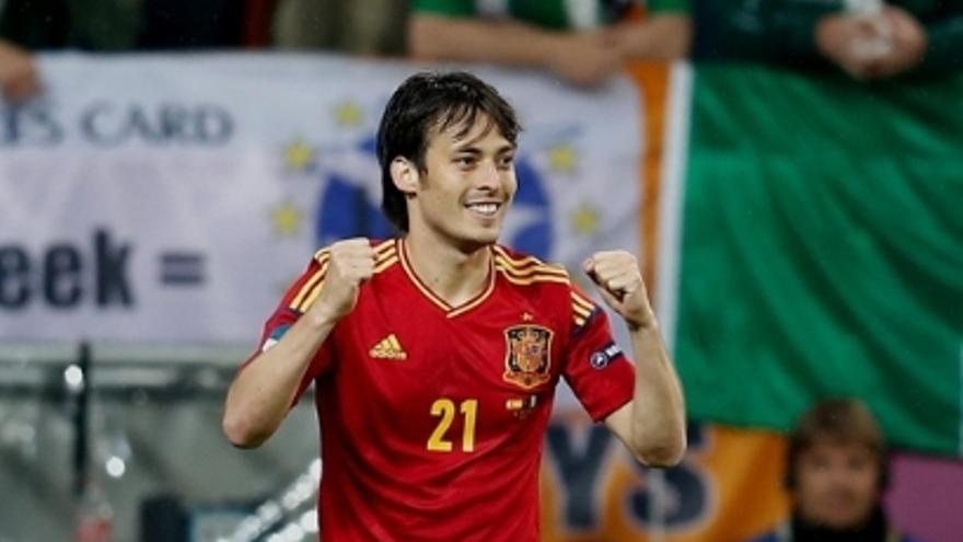 David Silva tras marcar su gol (C. Rubio, RFEF)