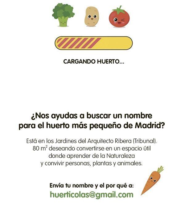 Cartel buscando nombre para el huerto de los Jardines de Barceló