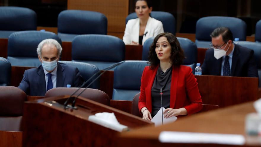 La presidenta de la Comunidad de Madrid, Isabel Díaz Ayuso, durante el Pleno regional.