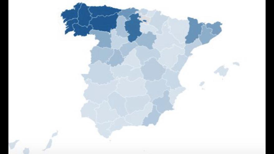Mapa de la concentración de poblaciones sin acceso a Internet de calidad