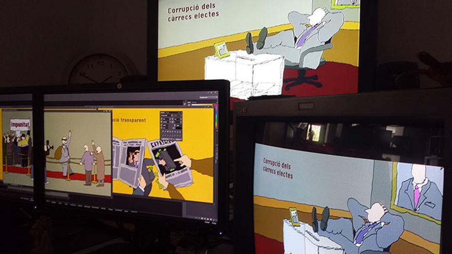 Proceso de postproducción del documental 'Corrupción, el organismo nocivo'. Foto: Productora Pandora Box TV
