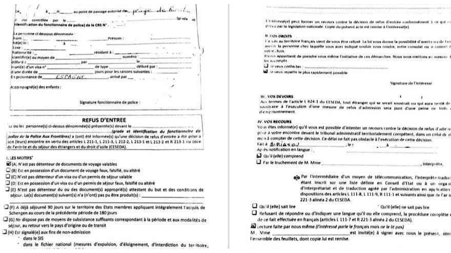Documento entregado a las personas rechazadas en la frontera de entrada a Francia