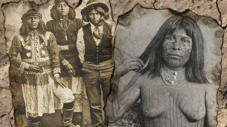 Retrato de miembros de la tribu yavapais y una integrante de la tribu mohave. (CA)