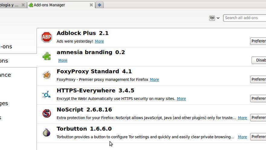 Extensiones instaladas en el navegador Tails