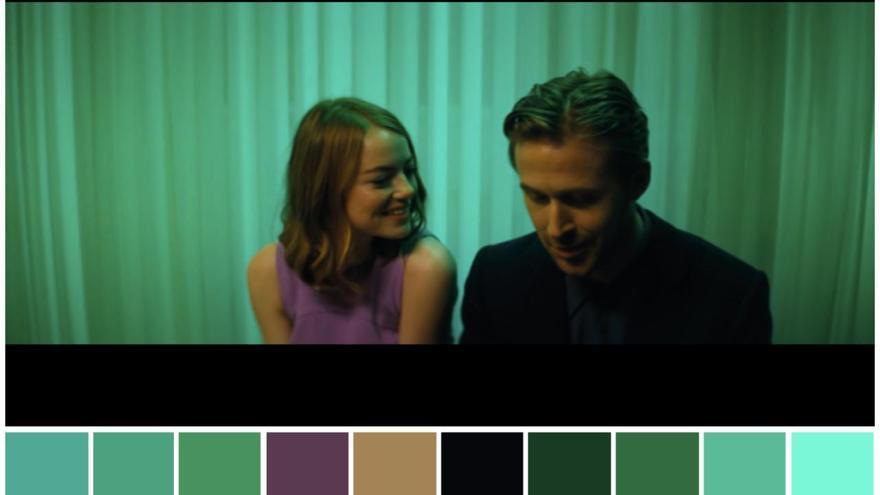Paleta de colores con tonos verdes en una escena de 'La La Land'