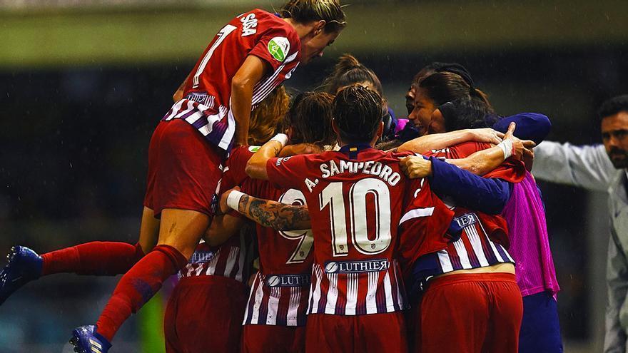 Las jugadoras del Atlético Madrid celebran un gol en la Liga Iberdrola