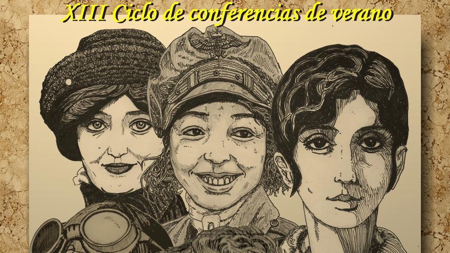 Cartel de las conferencias sobre las pioneras de la aviación en Sigüenza (Guadalajara)