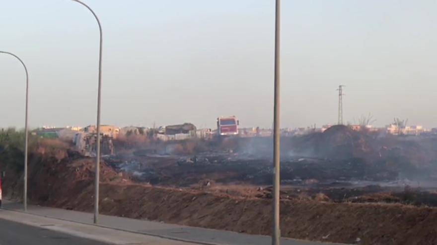 Así quedó el asentamiento chabolista de Lepe tras el incendio.
