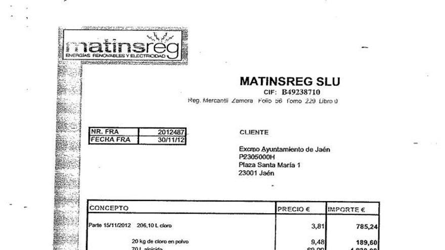 Ejemplo de factura de la empresa Matinsreg al Ayuntamiento de Jaén.