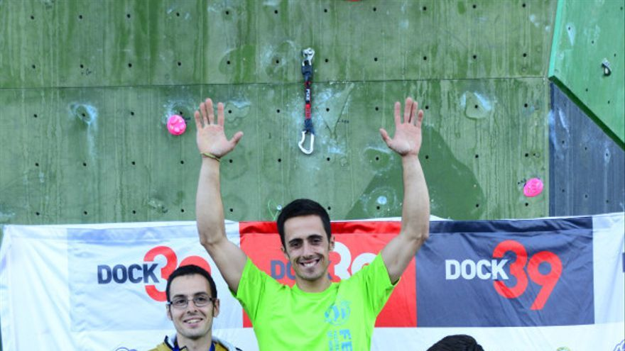 Podio masculino del Campeonato de España de Escalada de Dificultad (© David Munilla / FEDME).