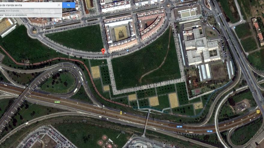 Solar en el barrio de Los Bermejales donde el ayuntamiento de Sevilla prevé construir ahora una Escuela Municipal de Golf.