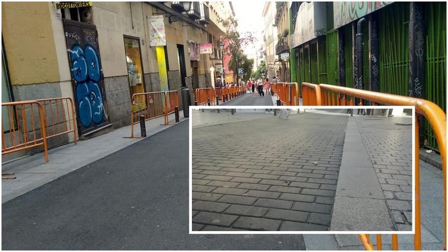 En la imagen grande, estado actual de la calle Gravina, con su nuevo asfalto. En la pequeña, imagen de la calle Cruz con el mismo acabado que lucirá en breve Gravina | SOMOS CHUECA