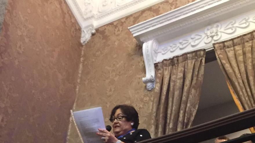 La presidenta de la Fenderación de Vecinos, María José Broseta, durante su intervención