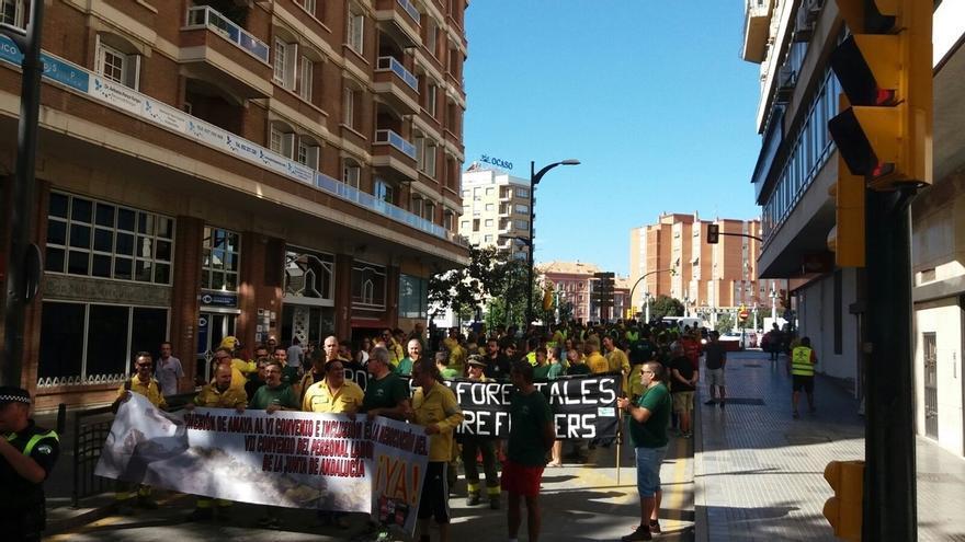 Manifestación en Málaga y concentraciones provinciales para reflejar malestar de bomberos forestales por su precariedad