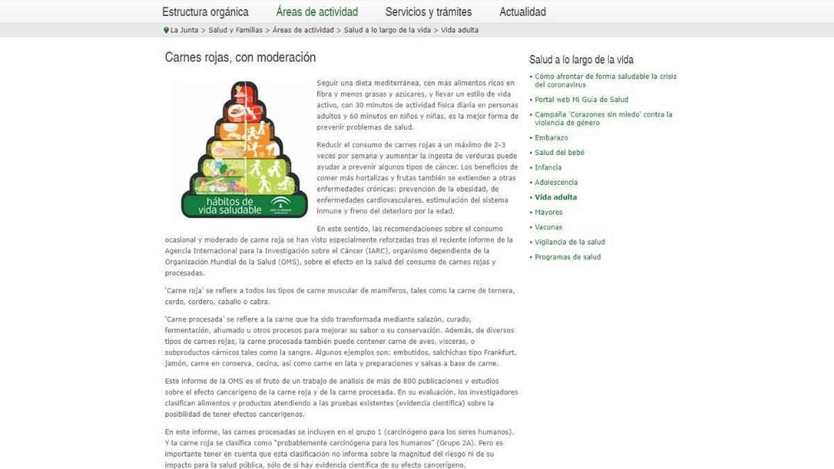 Esta es la recomendación que aparece en la página de la Consejería andaluza de Salud y Familias