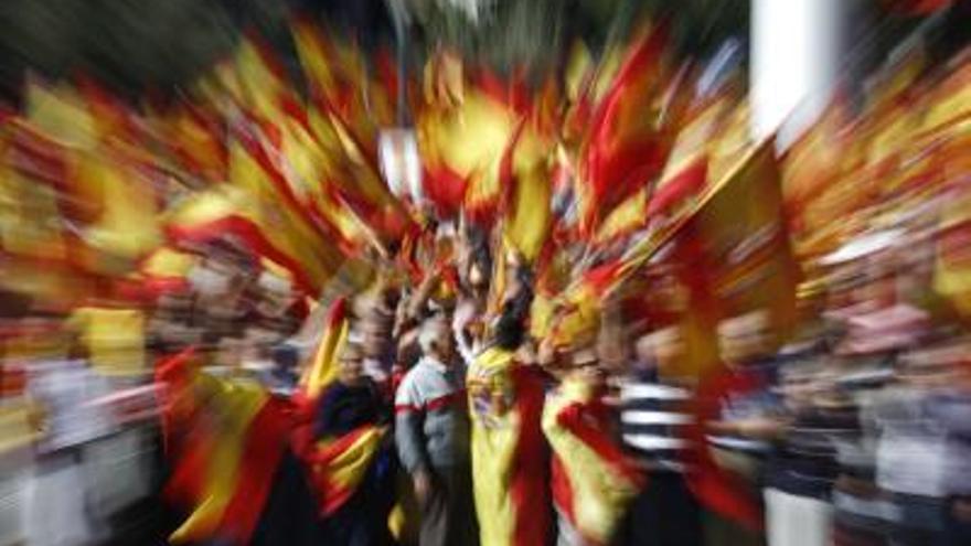 Banderas españolas en la Plaza de Colón, Madrid. Archivo.EFE