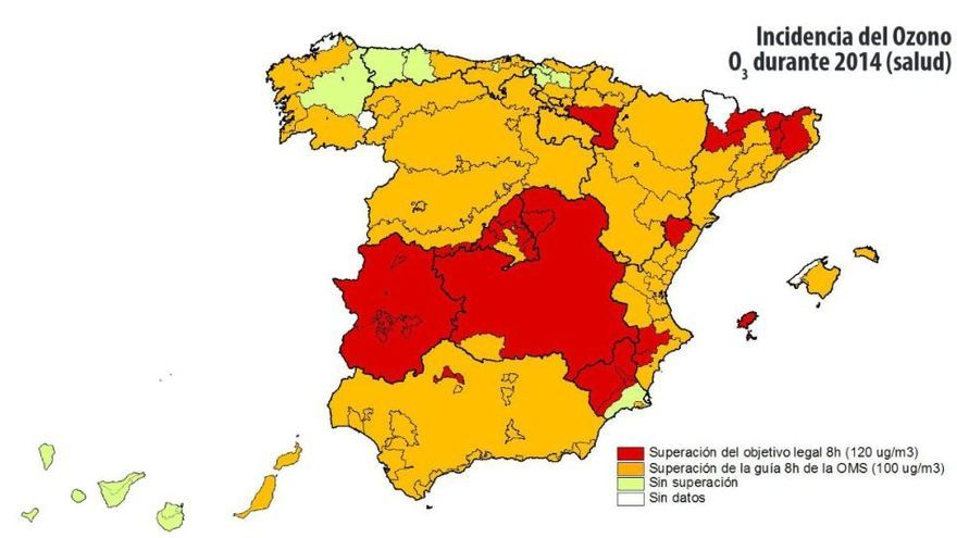 Índices de ozono en 2014 / Mapa: Ecologistas en Acción