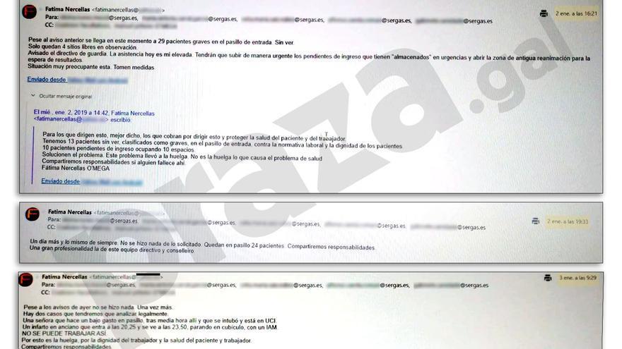 Correos enviados por la delegada de personal de Urgencias a la gerencia del Hospital Clínico de Santiago el 2 y el 3 de enero
