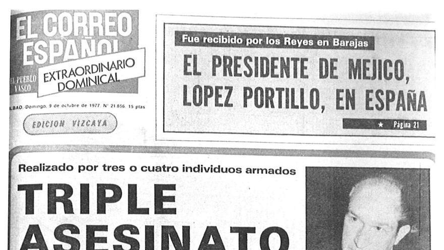 Portada de El Correo del 9 de octubre de 1977.