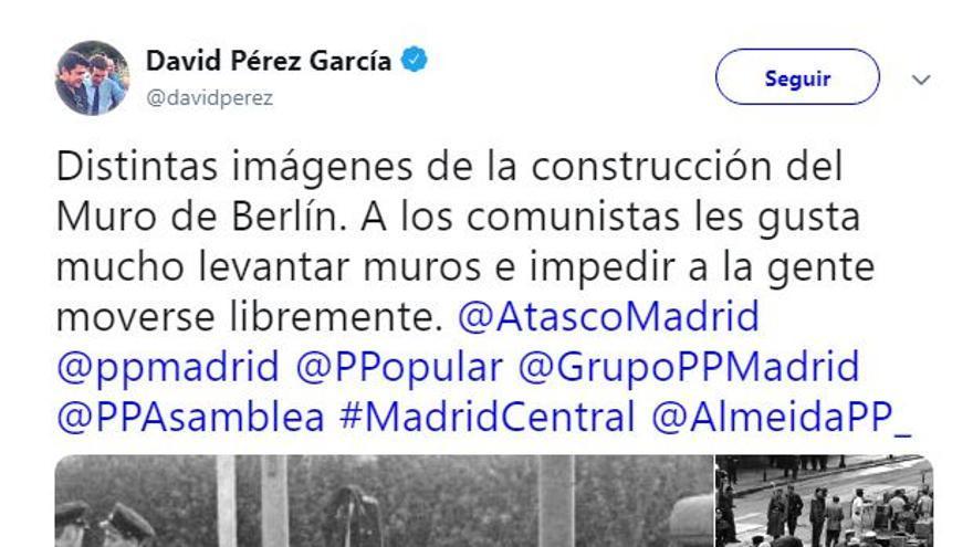 Tweet del alcalde de Alcorcón, David Pérez García
