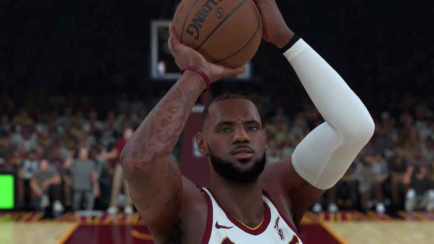 Lebron James lanzando en suspensión en el NBA 2K18