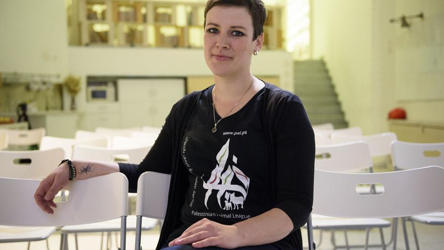 Liz Tyson, en noviembre de 2016 en Madrid, poco antes de pronunciar su conferencia. Foto: Tras los Muros