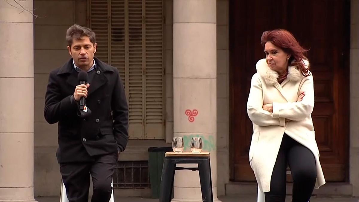 Axel Kicillof y Cristina Fernández de Kirchner en un acto en junio pasado