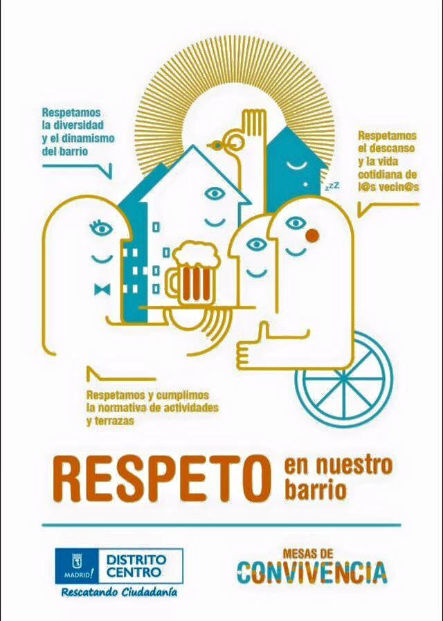 Cartel de la campaña pidiendo respeto en el centro de Madrid