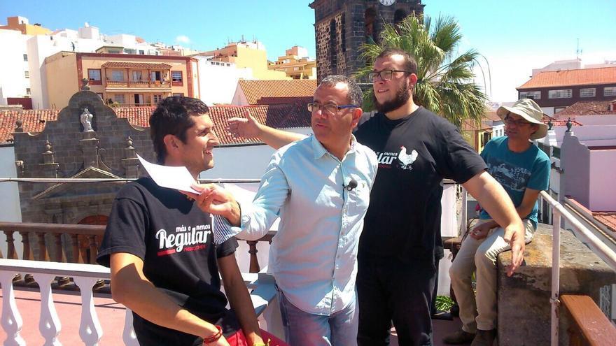 Luismi Castillo (i), Calero y Juanjo Neris, durante la grabación.