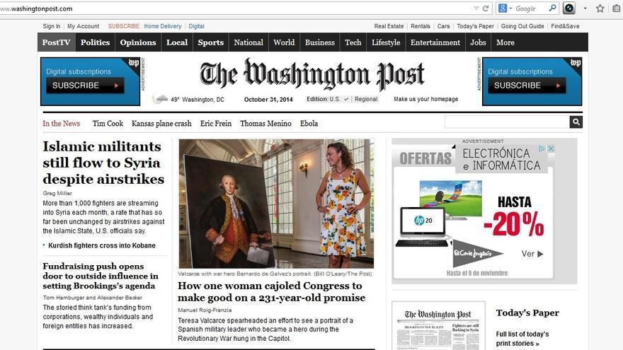 Portada del Washigton Post en la que aparece la historia de un cuadro español en el Capitolio