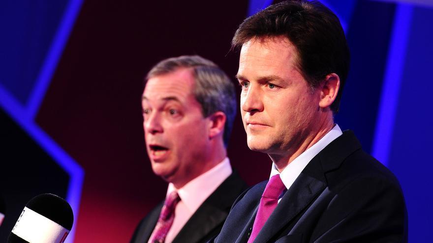El líder del UKIP, Nigel Farage, y el exviceprimer ministro liberal, Nick Clegg, en una imagen de archivo.